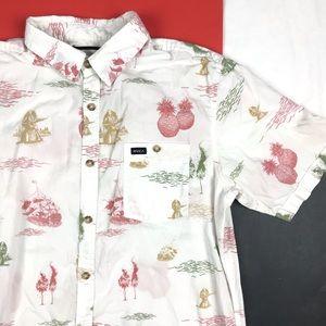 RVCA Tropic Hula Girl Button Hawaiian Shirt